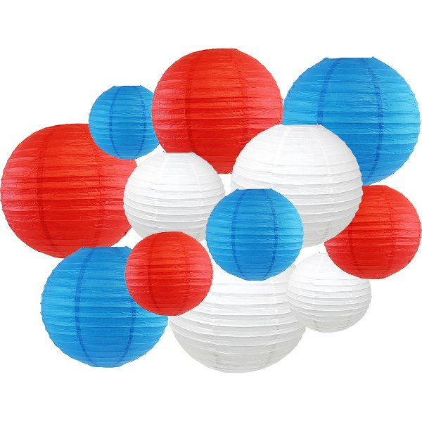 12pcs Assorted Decorative Round USA Holiday Paper Lanterns (Red, White & Blue) - Premier