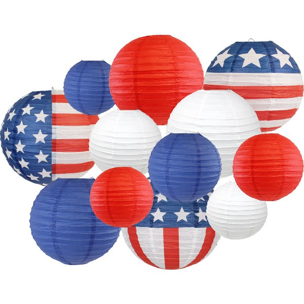 12pcs Assorted Decorative Round USA Holiday Paper Lanterns (Stars & Stripes) - Premier