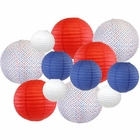 12pcs Assorted Decorative Round USA Holiday Paper Lanterns (USA 1776) - Premier