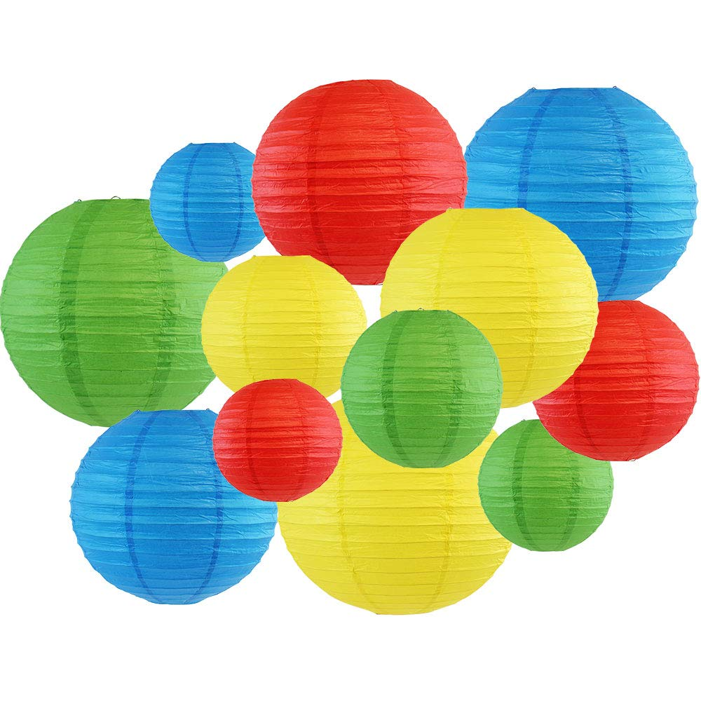 12pcs Assorted Paper Lanterns (Color: Blue, Green, Red, and Lemon) - Premier