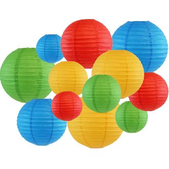 12pcs Assorted Paper Lanterns (Color: Blue, Green, Red, and Pineapple) - Premier