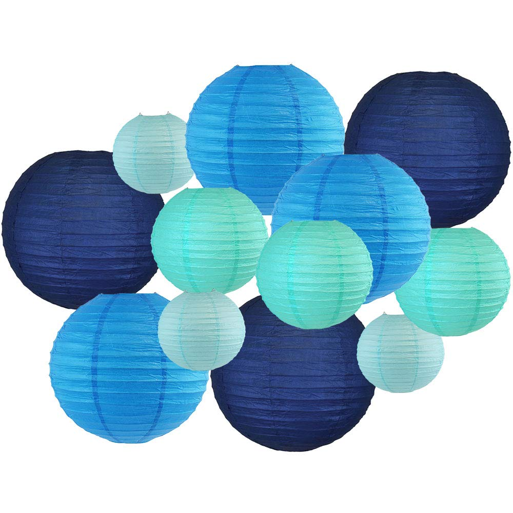 12pcs Assorted Size & Color Paper Lanterns (Color: Blues) - Premier