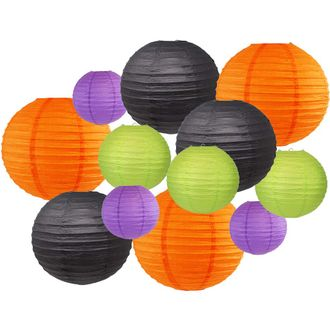 12pcs Assorted Size & Color Paper Lanterns (Color: Bootiful) - Premier