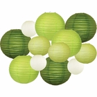 12pcs Assorted Size & Color Paper Lanterns (Color: Greens) - Premier