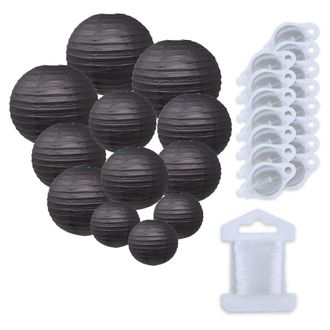 12pcs Assorted Size Paper Lanterns w/ 15pc LED Lights and Clear String (Color: Black) - Premier