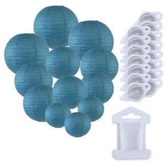 12pcs Assorted Size Paper Lanterns w/ 15pc LED Lights and Clear String (Color: Dark Blue) - Premier