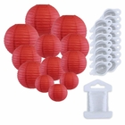 12pcs Assorted Size Paper Lanterns w/ 15pc LED Lights and Clear String (Color: Dark Red) - Premier