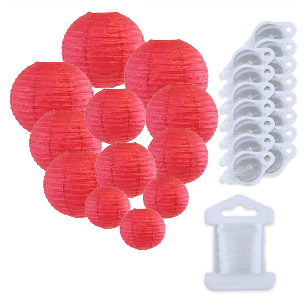 12pcs Assorted Size Paper Lanterns w/ 15pc LED Lights and Clear String (Color: Flamingo Pink) - Premier
