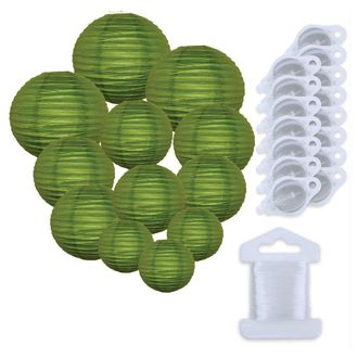 12pcs Assorted Size Paper Lanterns w/ 15pc LED Lights and Clear String (Color: Grass Green) - Premier