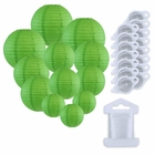 12pcs Assorted Size Paper Lanterns w/ 15pc LED Lights and Clear String (Color: Green) - Premier