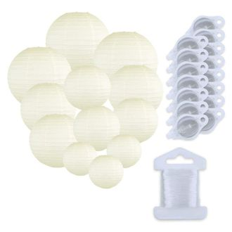 12pcs Assorted Size Paper Lanterns w/ 15pc LED Lights and Clear String (Color: Ivory) - Premier