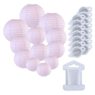 12pcs Assorted Size Paper Lanterns w/ 15pc LED Lights and Clear String (Color: Lavender) - Premier
