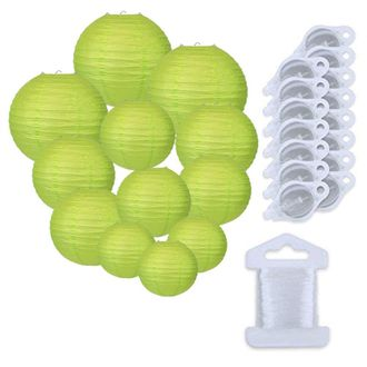 12pcs Assorted Size Paper Lanterns w/ 15pc LED Lights and Clear String (Color: Light Green) - Premier