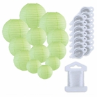 12pcs Assorted Size Paper Lanterns w/ 15pc LED Lights and Clear String (Color: Mint) - Premier
