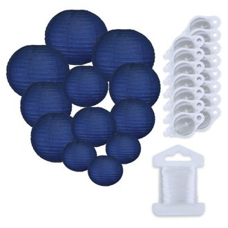 12pcs Assorted Size Paper Lanterns w/ 15pc LED Lights and Clear String (Color: Navy Blue) - Premier