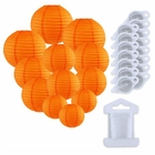 12pcs Assorted Size Paper Lanterns w/ 15pc LED Lights and Clear String (Color: Orange) - Premier