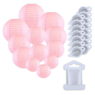 12pcs Assorted Size Paper Lanterns w/ 15pc LED Lights and Clear String (Color: Pale Pink) - Premier
