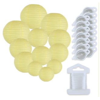 12pcs Assorted Size Paper Lanterns w/ 15pc LED Lights and Clear String (Color: Pale Yellow) - Premier