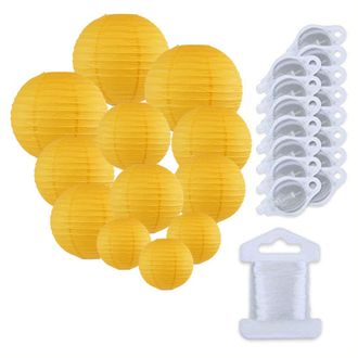 12pcs Assorted Size Paper Lanterns w/ 15pc LED Lights and Clear String (Color: Pineapple Yellow) - Premier