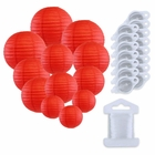 12pcs Assorted Size Paper Lanterns w/ 15pc LED Lights and Clear String (Color: Red) - Premier