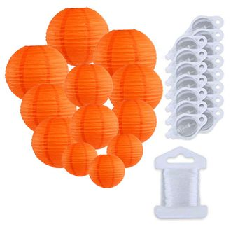 12pcs Assorted Size Paper Lanterns w/ 15pc LED Lights and Clear String (Color: Red Orange) - Premier