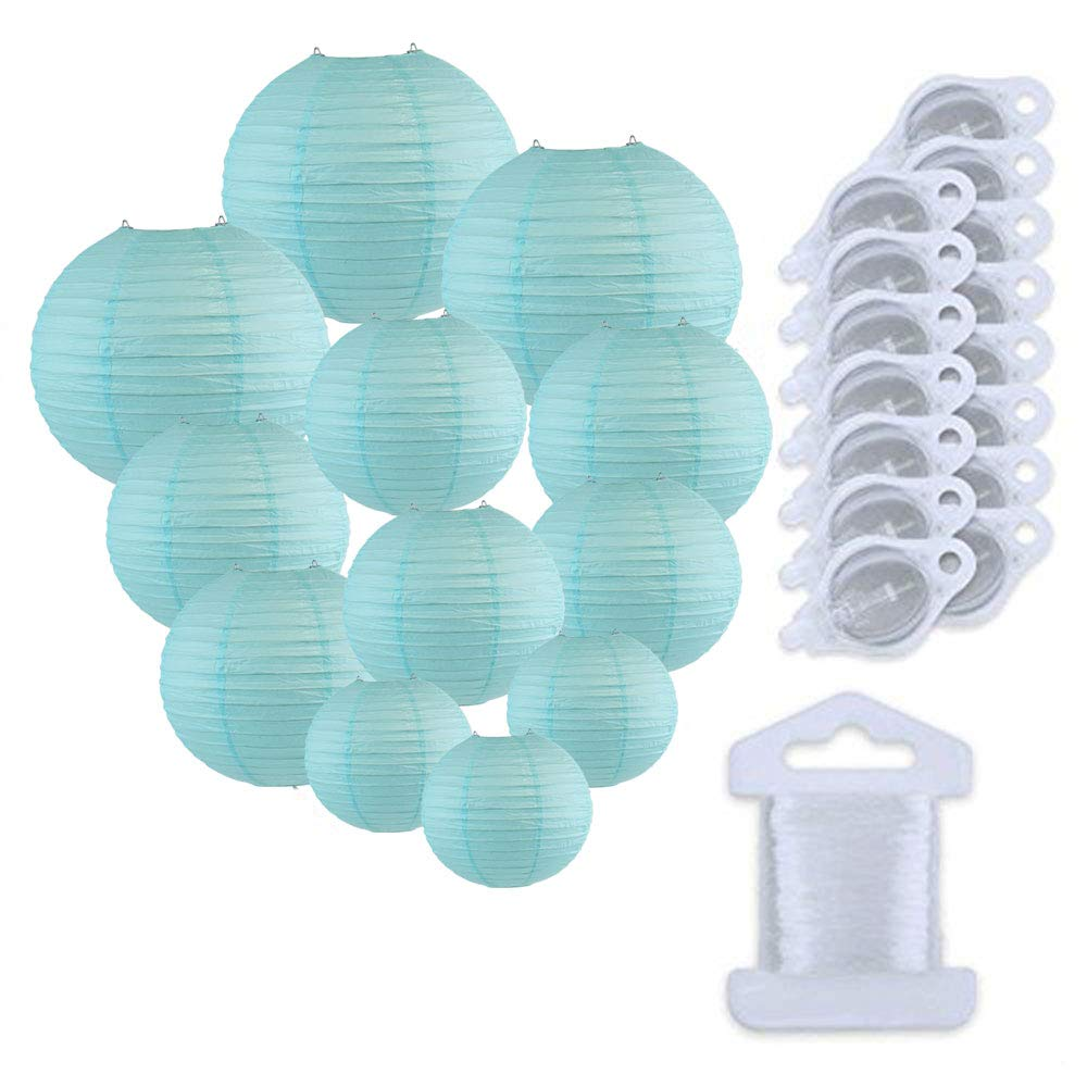 12pcs Assorted Size Paper Lanterns w/ 15pc LED Lights and Clear String (Color: Sky Blue) - Premier