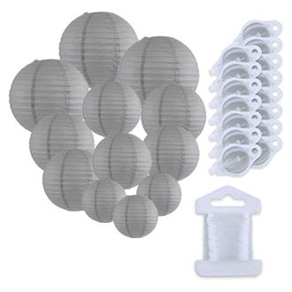 12pcs Assorted Size Paper Lanterns w/ 15pc LED Lights and Clear String (Color: Slate Gray) - Premier