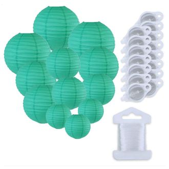 12pcs Assorted Size Paper Lanterns w/ 15pc LED Lights and Clear String (Color: Teal Blue Green) - Premier