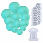 12pcs Assorted Size Paper Lanterns w/ 15pc LED Lights and Clear String (Color: Turquoise) - Premier