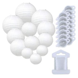 12pcs Assorted Size Paper Lanterns w/ 15pc LED Lights and Clear String (Color: White) - Premier
