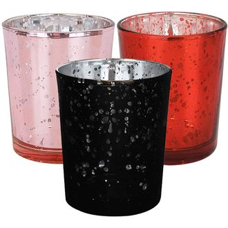12pcs Assorted Size Valentines Day Metallic Glass Votive Candle Holders (Color: Galentines) - Premier
