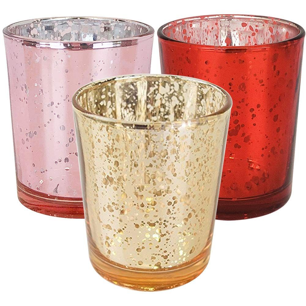 12pcs Assorted Size Valentines Day Metallic Glass Votive Candle Holders (Color: Kiss Me) - Premier