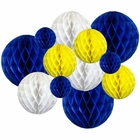 12pcs Assorted Sizes Decorative Tissue Paper Honeycomb Balls (Color: Blueberry and Lemon Yellow) - Premier