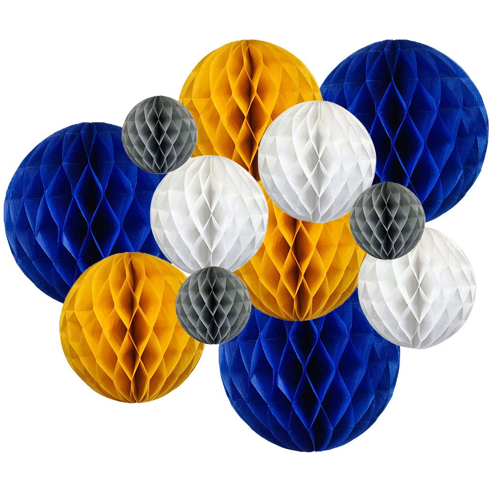 12pcs Assorted Sizes Decorative Tissue Paper Honeycomb Balls (Color: Blueberry and Sunflower Yellow) - Premier