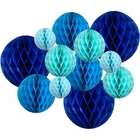 12pcs Assorted Sizes Decorative Tissue Paper Honeycomb Balls (Color: Blues) - Premier