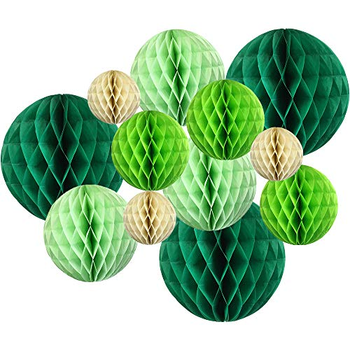 12pcs Assorted Sizes Decorative Tissue Paper Honeycomb Balls (Color: Greens) - Premier