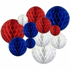 12pcs Assorted Sizes Decorative Tissue Paper Honeycomb Balls (Color: Patriotic) - Premier