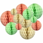 12pcs Assorted Sizes Decorative Tissue Paper Honeycomb Balls (Color: Peach/Mint) - Premier