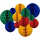 12pcs Assorted Sizes Decorative Tissue Paper Honeycomb Balls (Color: Primary 2) - Premier