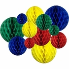 12pcs Assorted Sizes Decorative Tissue Paper Honeycomb Balls (Color: Primary) - Premier