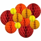 12pcs Assorted Sizes Decorative Tissue Paper Honeycomb Balls (Color: Reds) - Premier