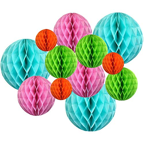 12pcs Assorted Sizes Decorative Tissue Paper Honeycomb Balls (Color: Tropical) - Premier
