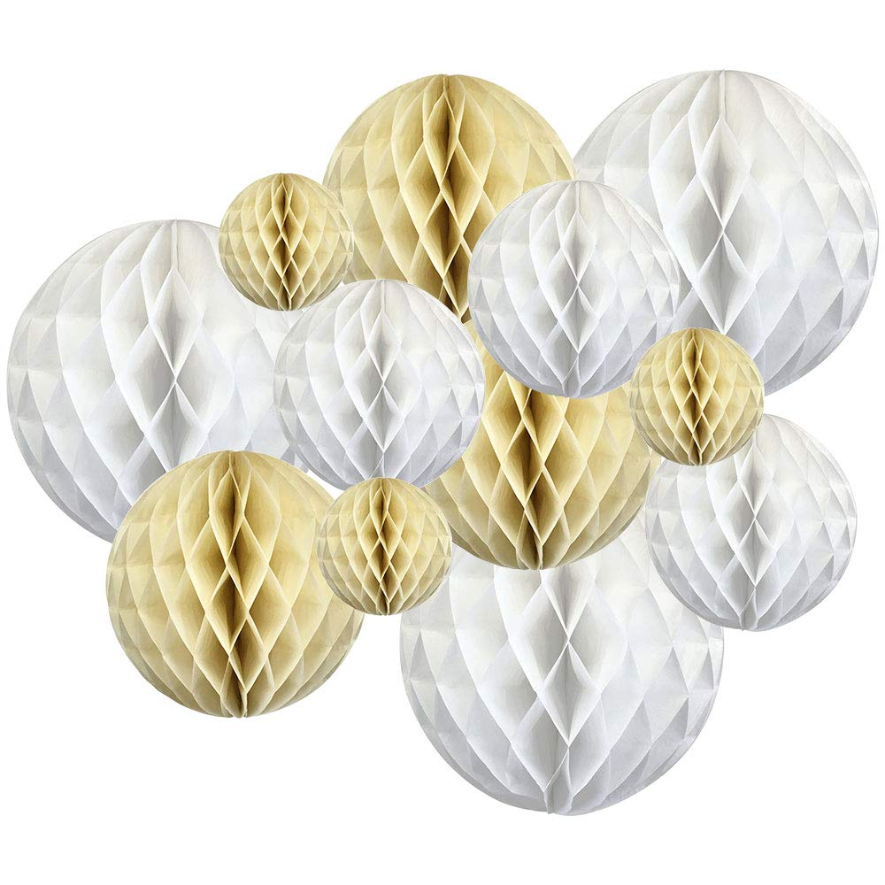 12pcs Assorted Sizes Decorative Tissue Paper Honeycomb Balls (Color: White/Ivory) - Premier