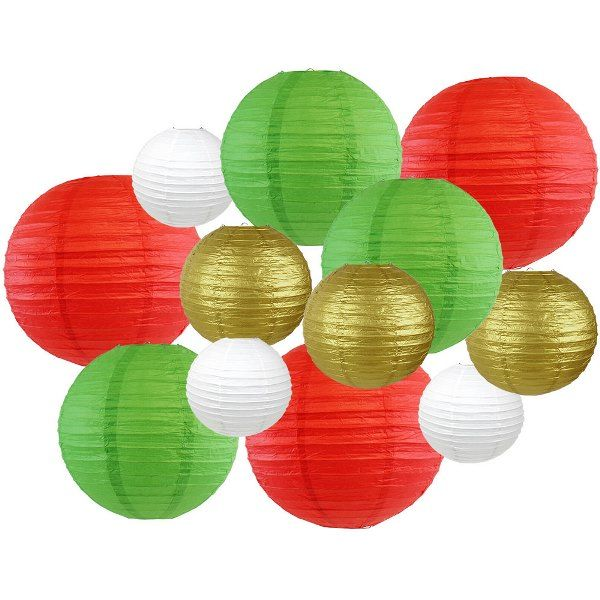12pcs Christmas Paper Lanterns Holly - Premier