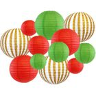 12pcs Christmas Paper Lanterns Jingle - Premier