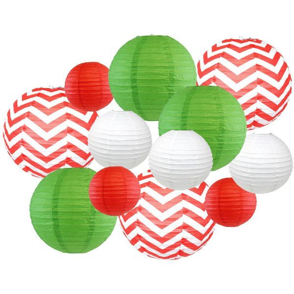 12pcs Christmas Paper Lanterns Merry - Premier