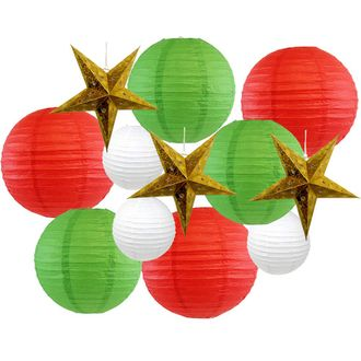12pcs Christmas Star Paper Lantern Decoration Kit (Color: Merry and Bright) - Premier