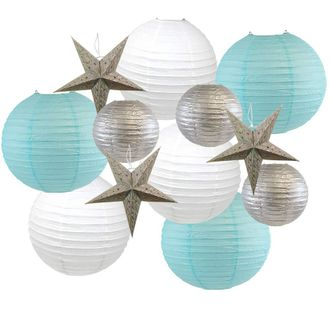 12pcs Christmas Star Paper Lantern Decoration Kit (Color: Winter Wonderland) - Premier