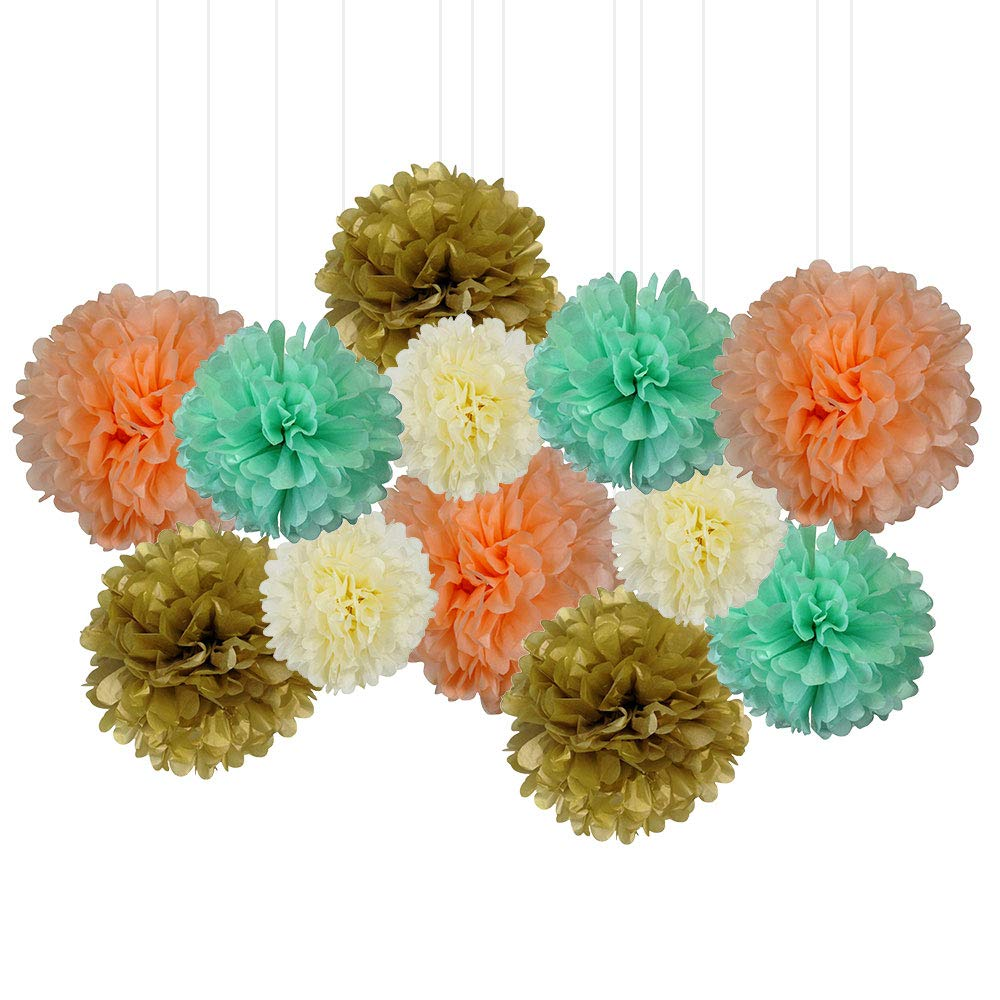 12pcs Decorative Tissue Paper Pom Poms (12pcs, A-Real-Peach) - Premier