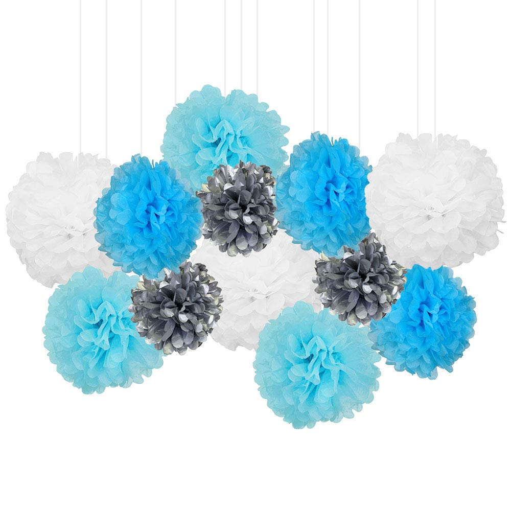 12pcs Decorative Tissue Paper Pom Poms (12pcs, Baby Boy) - Premier